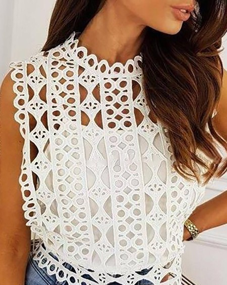 Cutwork Lace Hollow Out Sleeveless Top