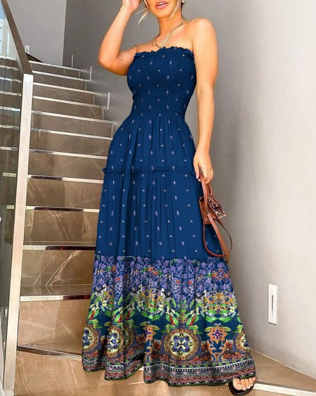 Bandeau Ethnic Print Shirring Design Ruffles Maxi Dress