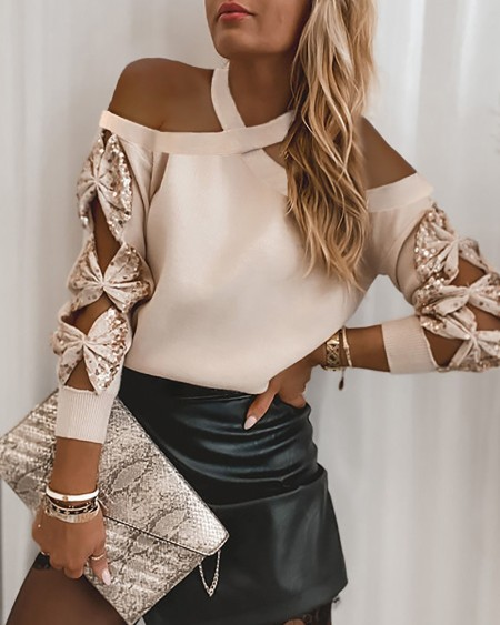 Sequins Bowknot Pattern Cutout Sweater