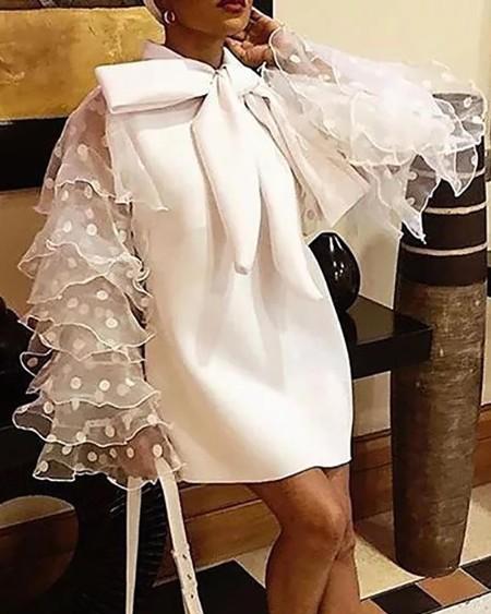 Bowknot Neck Layered Ruffles Dress