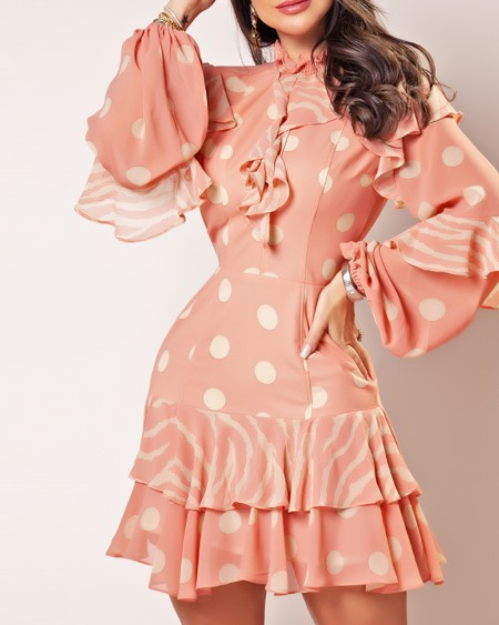 Ruffles Hem Floral Print Long Sleeve Casual Dress