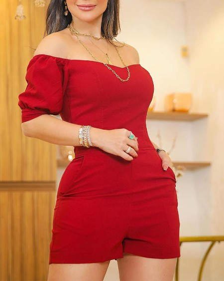 Off Shoulder Puffed Sleeve Pocket Romper