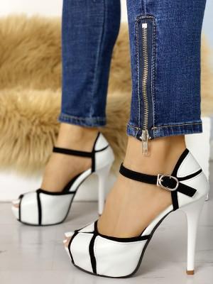 Contrast Color Peep Toe Platform Heels