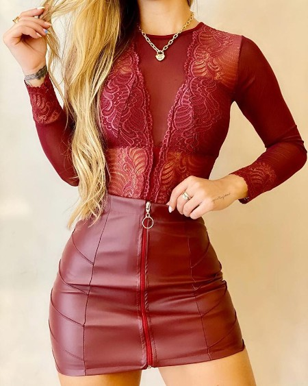 Guipure Lace Long Sleeve Bodysuit & Pu Leather Skirt Set