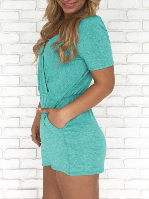 Solid Short Sleeve Pocket Casual Wrap Playsuit