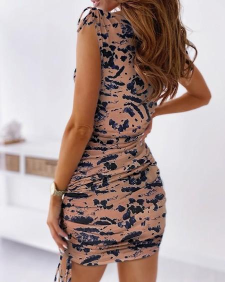 Tie Dye Print Tied Detail Ruched Dress