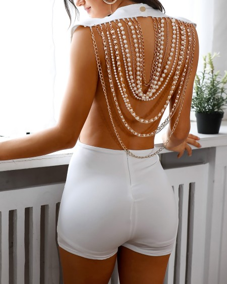 Beaded Tassel Design Open Back Rompers