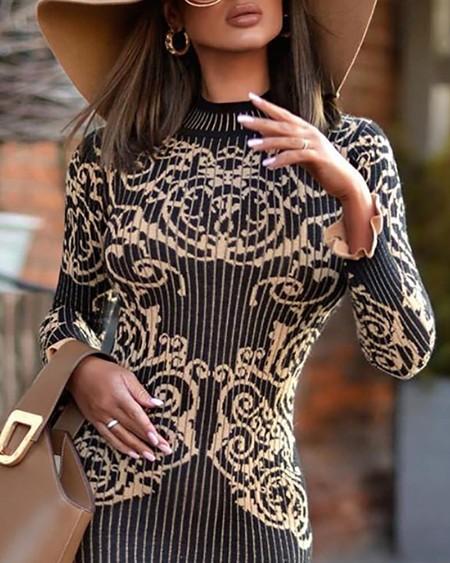 Mock Neck Retro Print Striped Long Sleeve Bodycon Dress