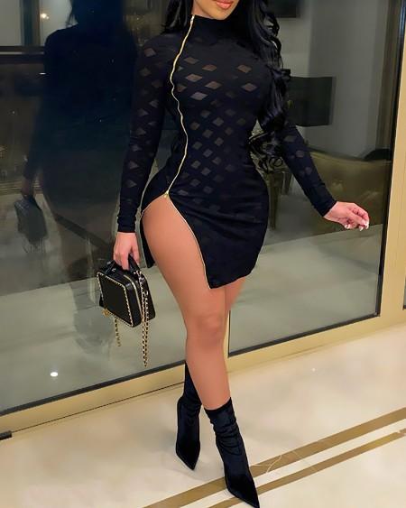Zipper Design Sheer Mesh Mock Neck Slit Bodycon Dress