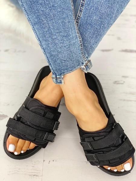 Velcro Design Open Toe Flat Sandals