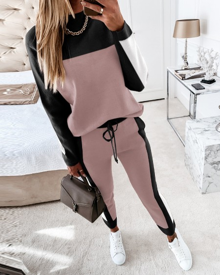 Colorblock Long Sleeve Top & Drawstring Waist Pants Set
