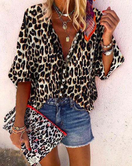 Leopard Print Long Sleeve Casual Blouse