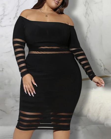 Off Shoulder Sheer Mesh Plus Size Bodycon Dress
