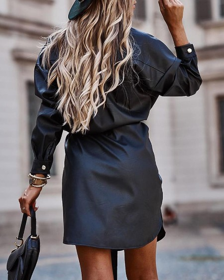 Buttoned Pochet Design Plain Slit Shirt Dress