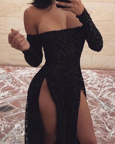 Off Shoulder Sequined High Slit Dress