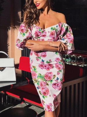 Floral Print Off Shoulder Puff Sleeve Bodycon Dress