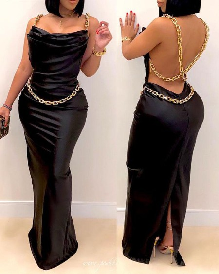 Chain Strap Backless Slit Satin Evening Dress