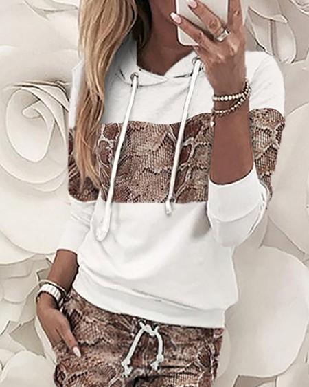 Snakeskin Hooded Sweatshirt & Pants Sets