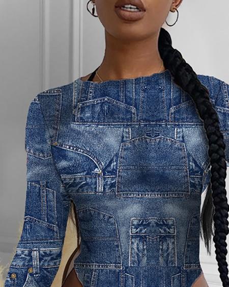 Denim Pattern Print Long Sleeve Bodysuit