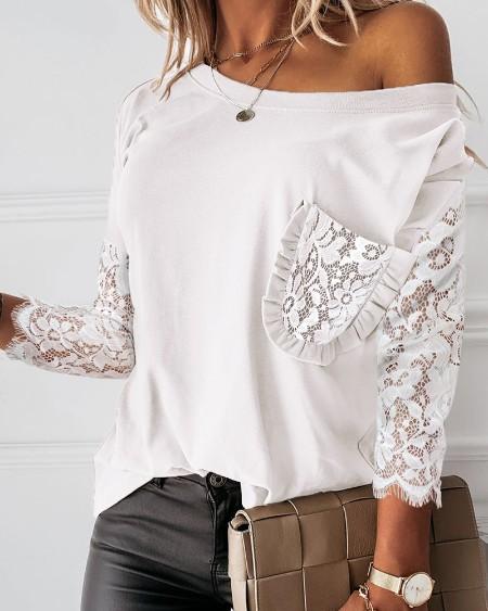 boutiquefeel / Pocket Design Crochet Lace Frill Hem Top