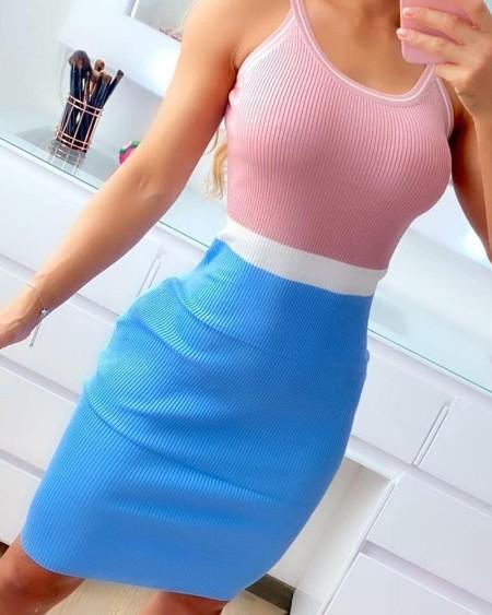 Colorblock Spaghetti Strap Ruched Bodycon Dress