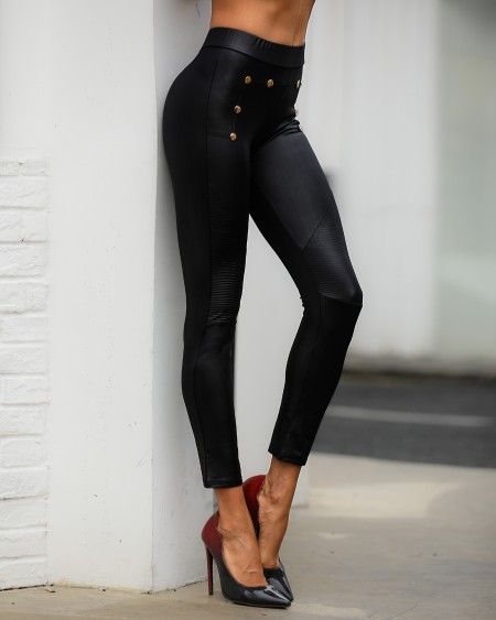 High Waist Buttoned Detail Coated PU Pants