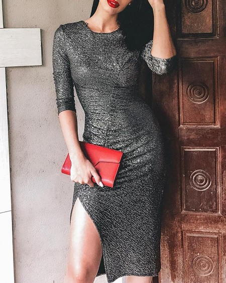Studded Ruched Slit Bodycon Dress