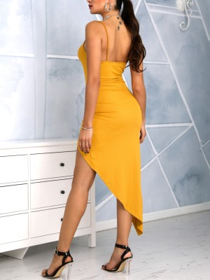 Scrunched Cutout Irregular Party Dress