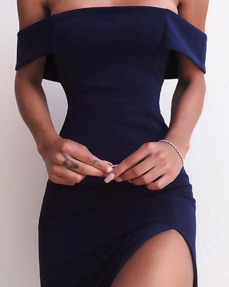 Off Shoulder High Slit Party Dress