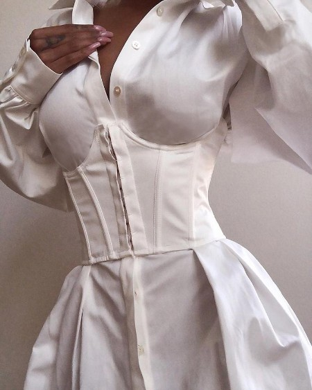Solid Long Sleeve Tight Waist Buttoned Shirt Dress