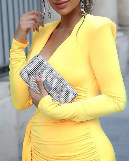 Plunge Ruched Drape Design Slit Dress