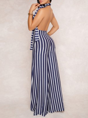 Halter Vertical Contrast Stripes Open Back Jumpsuit