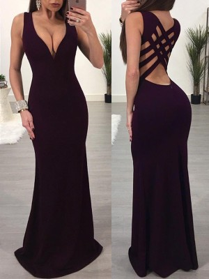 Solid Strappy Low Cut Caged Back Maxi Dress