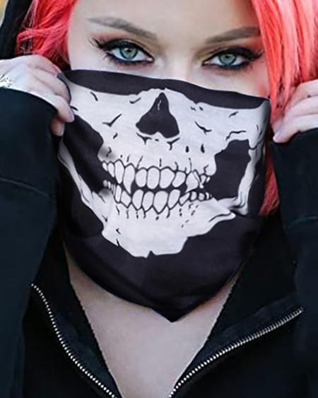 Skull Print FaceBandana Magic Scarf Headwrap Balaclava