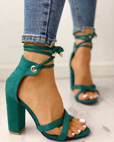 13c5fc3aa7 Suede Crisscross Strappy Chunky Heeled Sandals Suede Crisscross Strappy  Chunky Heeled Sandals