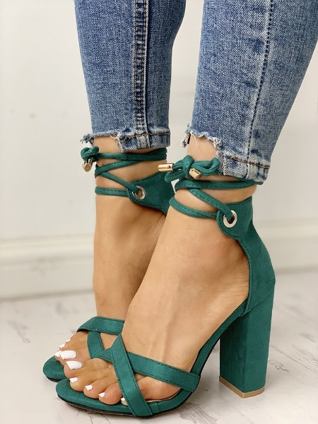 Suede Crisscross Strappy Chunky Heeled Sandals