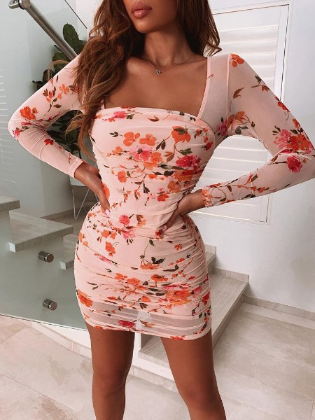 Floral Print Square Neck Scrunch Bodycon Dress