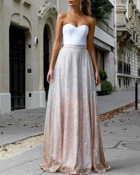 High Waist Glitter Mesh Colorblock Skirt