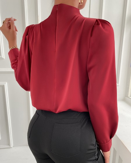 Button Decor Ruched Long Sleeve Top