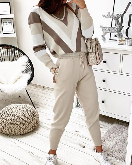 Colorblock Long Sleeve Top & Drawstring Pants Set