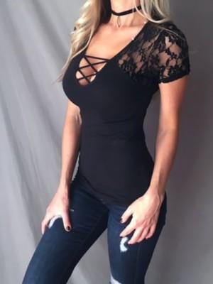 Skinny Lace Crisscross U-Neck T-Shirt
