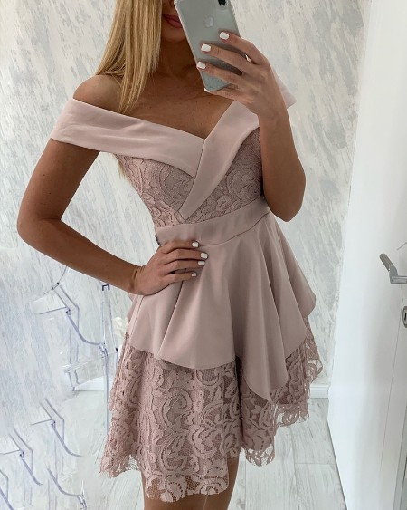 Off Shoulder Layered Lace Insert Dress