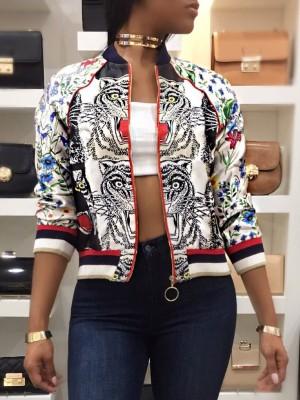 Tiger Print Zipper Up Contrast Hem Bomber Coat