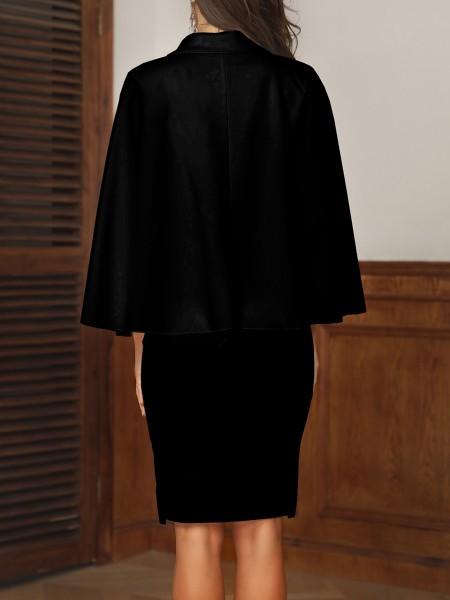 Double Breasted Cape Sleeve Slit Blazer Dress