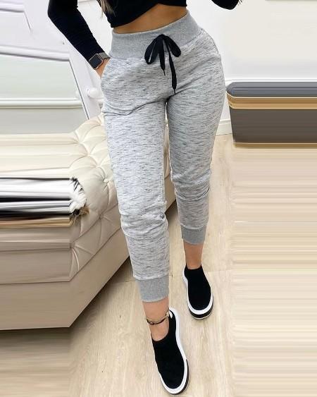 Plain Drawstring Pocket Design Sweatpants