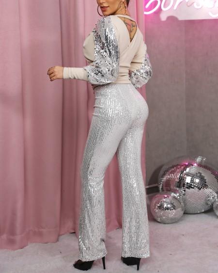 Sequined V Neck Top & Pants Set