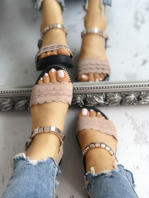 Single Strap Lacy Muffin Flat Sandals