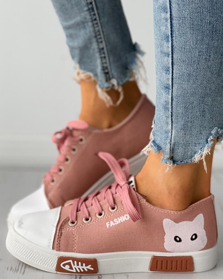 Cat Graphic Print Eyelet Lace-up Canvas Shoes