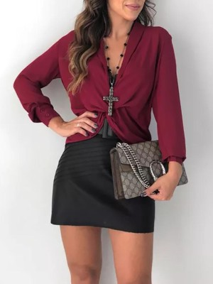 Solid Deep V-Neck Twisted Front Blouse