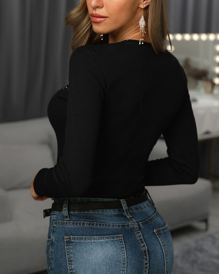 Hot Stamping Sheer Mesh Insert Long Sleeve Blouse